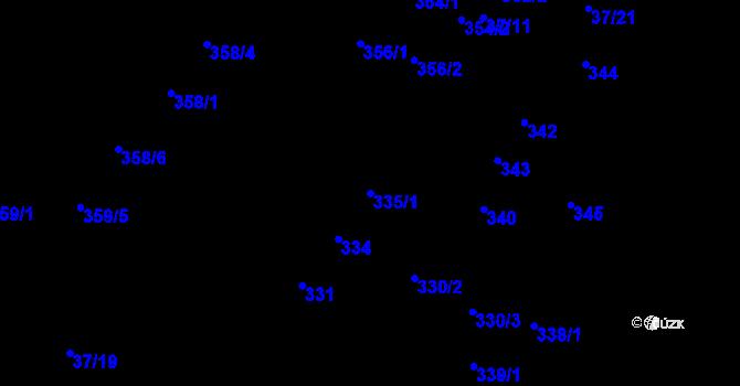 Parcela st. 335/1 v k.ú. Hudcov, Katastrální mapa