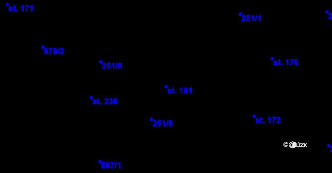 Parcela st. 181 v k.ú. Vilémov u Humpolce, Katastrální mapa