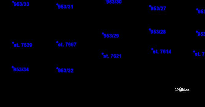 Parcela st. 7621 v k.ú. Cheb, Katastrální mapa