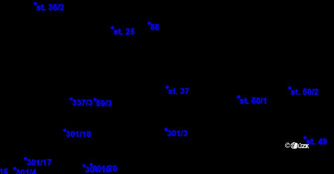 Parcela st. 37 v k.ú. Časy, Katastrální mapa