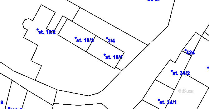 Parcela st. 10/4 v k.ú. Kozašice, Katastrální mapa