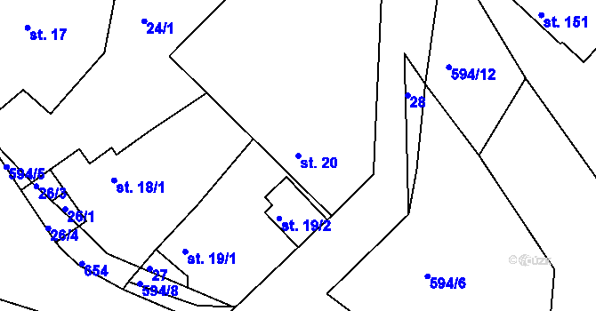 Parcela st. 20 v k.ú. Jaroslav, Katastrální mapa