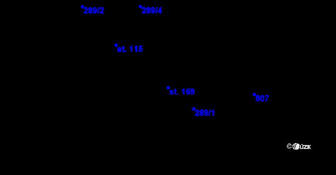 Parcela st. 169 v k.ú. Jaroslav, Katastrální mapa
