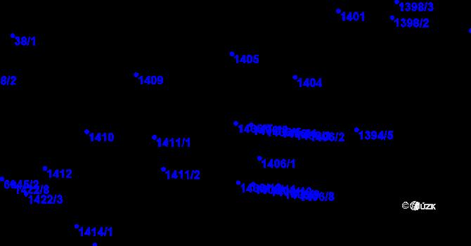 Parcela st. 1406/7 v k.ú. Jihlava, Katastrální mapa