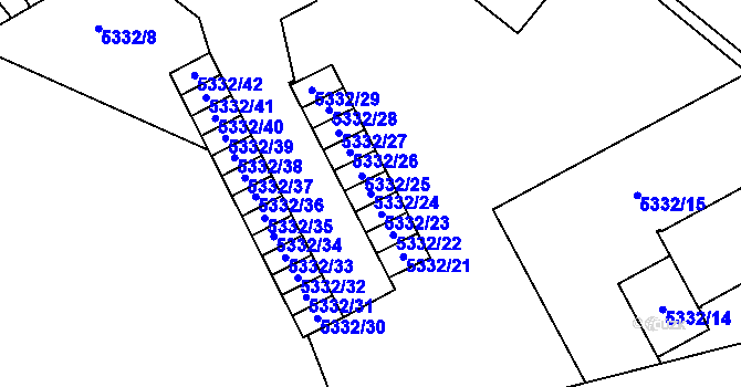 Parcela st. 5332/24 v k.ú. Jihlava, Katastrální mapa
