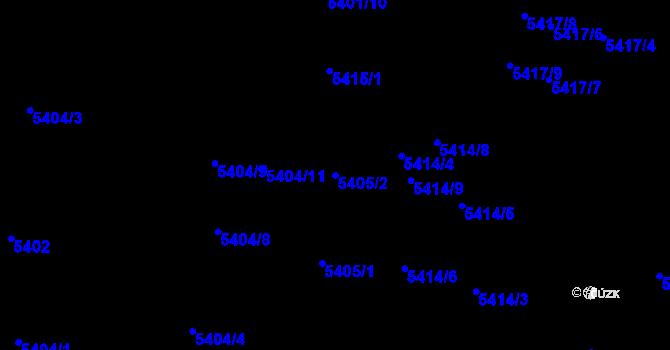 Parcela st. 5405/2 v k.ú. Jihlava, Katastrální mapa