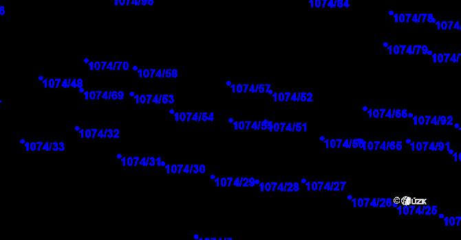 Parcela st. 1074/55 v k.ú. Jihlava, Katastrální mapa
