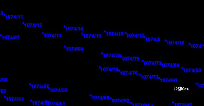Parcela st. 1074/78 v k.ú. Jihlava, Katastrální mapa