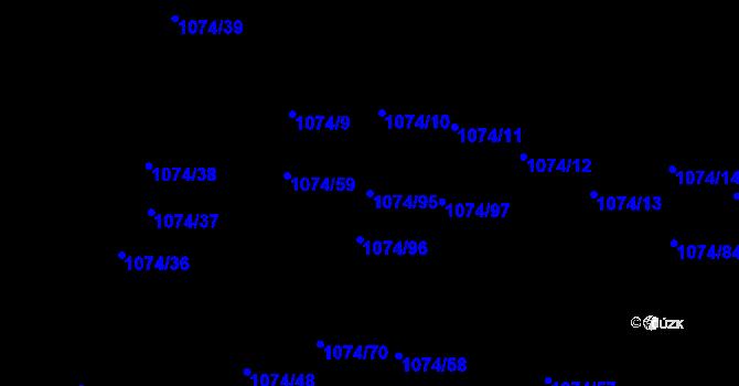 Parcela st. 1074/95 v k.ú. Jihlava, Katastrální mapa