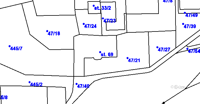 Parcela st. 69 v k.ú. Staré Hory, Katastrální mapa