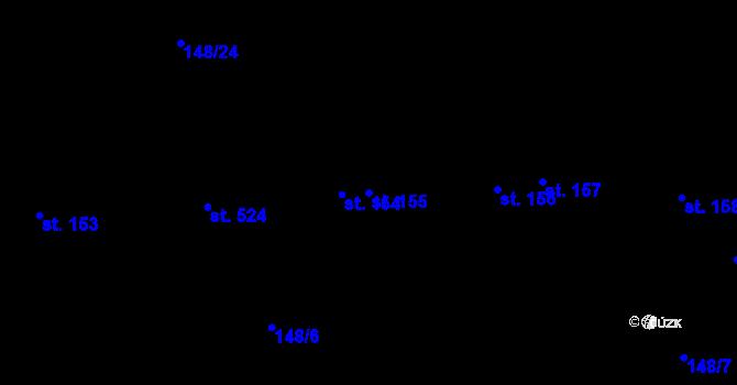 Parcela st. 155 v k.ú. Staré Hory, Katastrální mapa