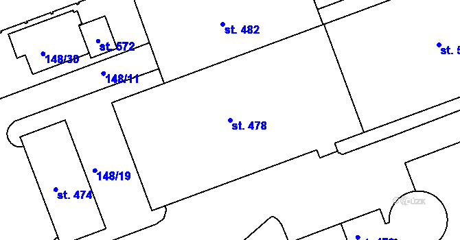Parcela st. 478 v k.ú. Staré Hory, Katastrální mapa