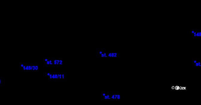 Parcela st. 482 v k.ú. Staré Hory, Katastrální mapa