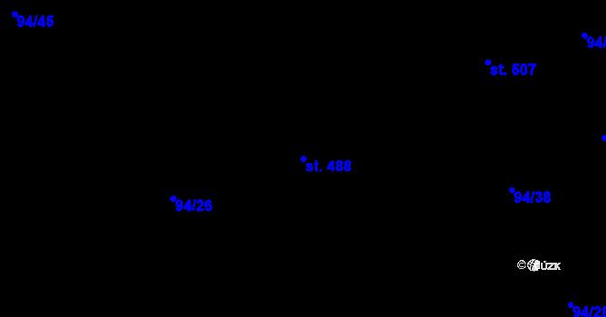 Parcela st. 488 v k.ú. Staré Hory, Katastrální mapa