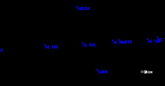 Parcela st. 524 v k.ú. Staré Hory, Katastrální mapa