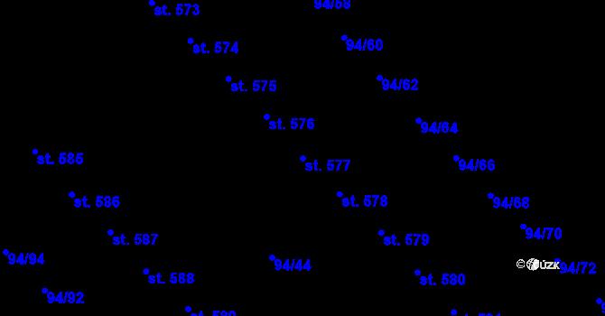 Parcela st. 577 v k.ú. Staré Hory, Katastrální mapa