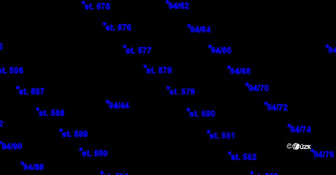 Parcela st. 579 v k.ú. Staré Hory, Katastrální mapa