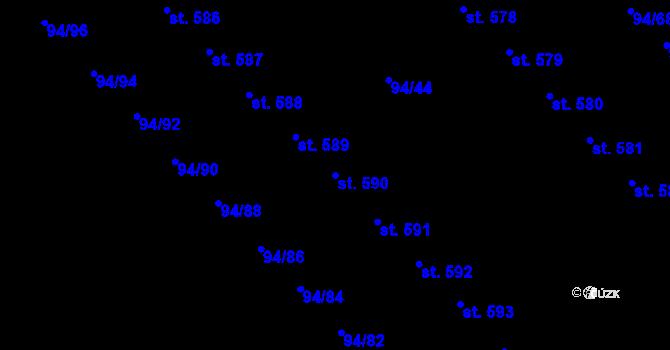 Parcela st. 590 v k.ú. Staré Hory, Katastrální mapa
