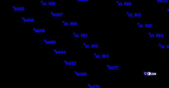 Parcela st. 592 v k.ú. Staré Hory, Katastrální mapa