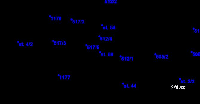 Parcela st. 59 v k.ú. Jílovec, Katastrální mapa