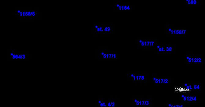 Parcela st. 517/1 v k.ú. Jílovec, Katastrální mapa