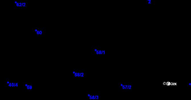 Parcela st. 58/1 v k.ú. Pokutice, Katastrální mapa