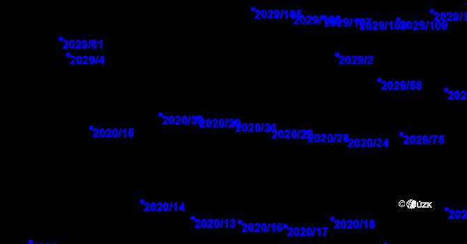 Parcela st. 2020/21 v k.ú. Kaplice, Katastrální mapa