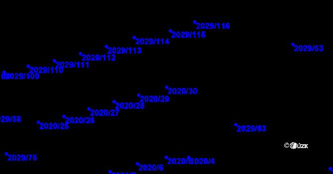Parcela st. 2020/30 v k.ú. Kaplice, Katastrální mapa