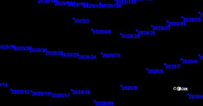 Parcela st. 2029/75 v k.ú. Kaplice, Katastrální mapa