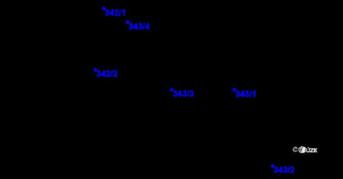 Parcela st. 343/3 v k.ú. Dvory, Katastrální mapa