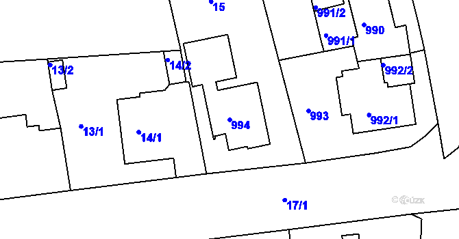 Parcela st. 994 v k.ú. Drahovice, Katastrální mapa