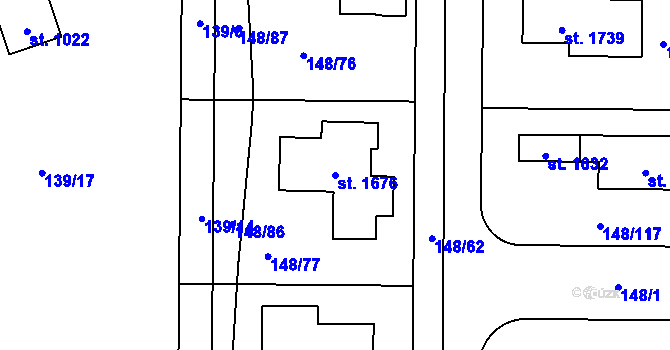 Parcela st. 1676 v k.ú. Rozdělov, Katastrální mapa