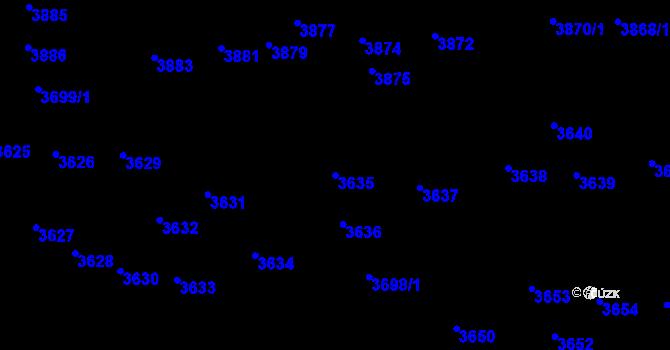 Parcela st. 3635 v k.ú. Kladno, Katastrální mapa