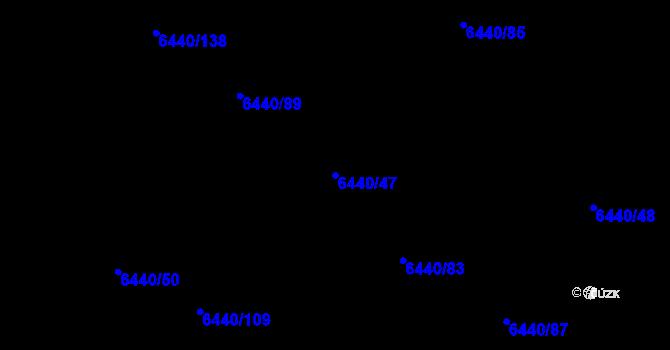 Parcela st. 6440/47 v k.ú. Kladno, Katastrální mapa