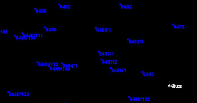 Parcela st. 6487/1 v k.ú. Kladno, Katastrální mapa