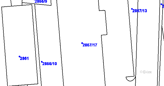 Parcela st. 2867/17 v k.ú. Kročehlavy, Katastrální mapa