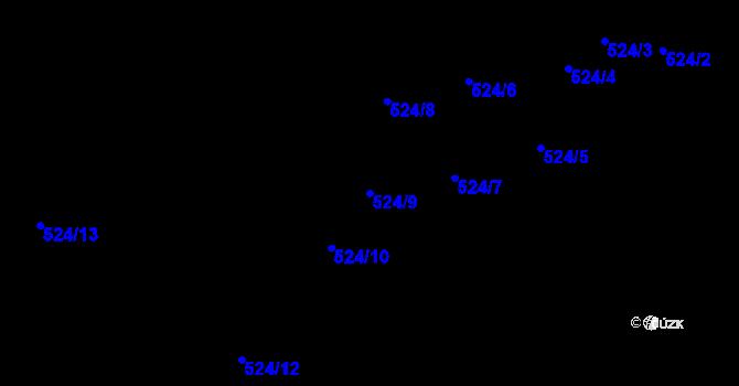 Parcela st. 524/9 v k.ú. Kojetín u Starého Jičína, Katastrální mapa