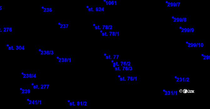 Parcela st. 77 v k.ú. Kokory, Katastrální mapa