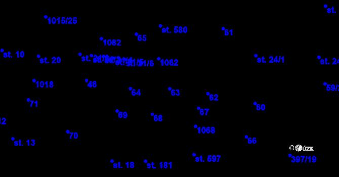 Parcela st. 63 v k.ú. Kokory, Katastrální mapa