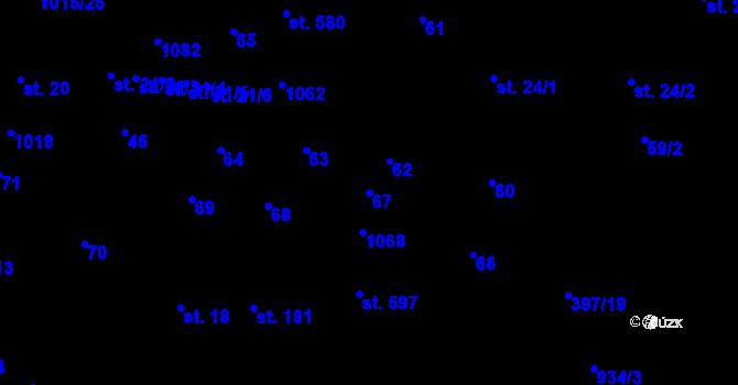 Parcela st. 67 v k.ú. Kokory, Katastrální mapa