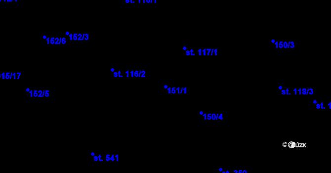 Parcela st. 151/1 v k.ú. Kokory, Katastrální mapa
