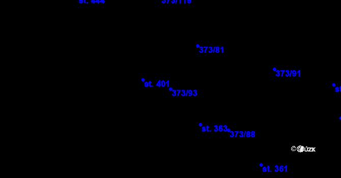 Parcela st. 373/93 v k.ú. Kokory, Katastrální mapa