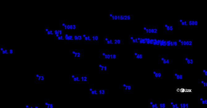 Parcela st. 1018 v k.ú. Kokory, Katastrální mapa
