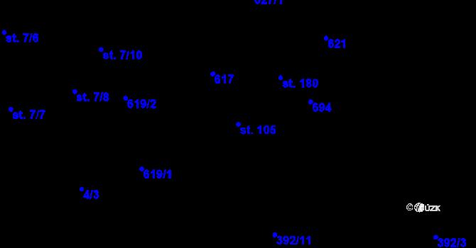 Parcela st. 105 v k.ú. Doubrava u Aše, Katastrální mapa