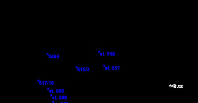 Parcela st. 658 v k.ú. Kopisty, Katastrální mapa