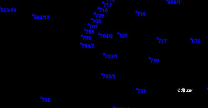 Parcela st. 722/1 v k.ú. Kopřivnice, Katastrální mapa