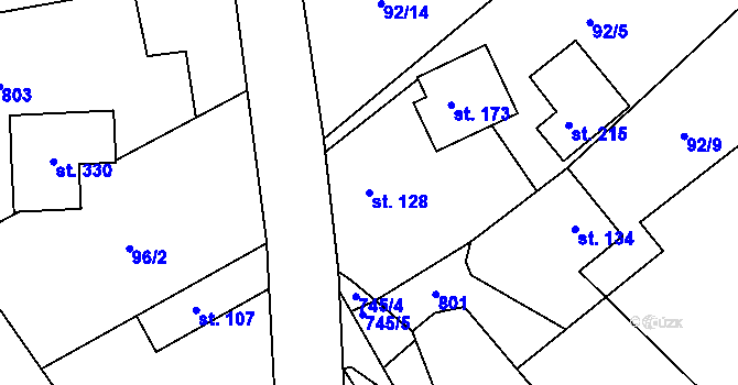 Parcela st. 128 v k.ú. Kosov, Katastrální mapa