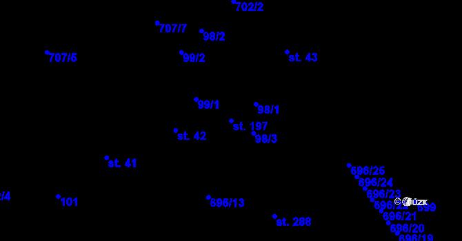 Parcela st. 197 v k.ú. Kosov, Katastrální mapa