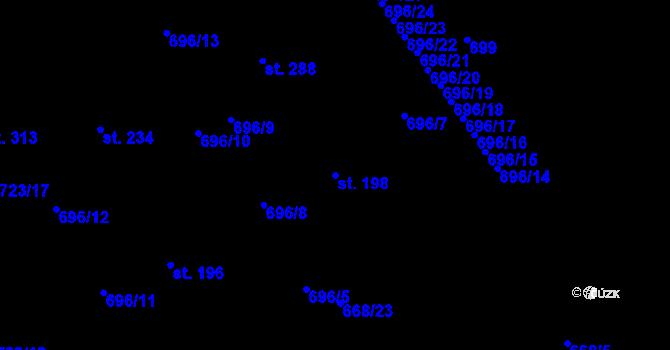 Parcela st. 198 v k.ú. Kosov, Katastrální mapa