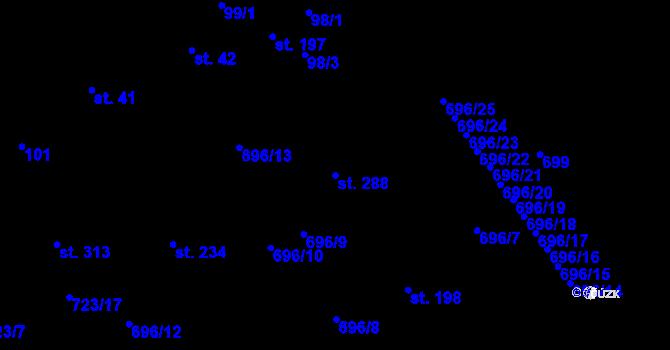 Parcela st. 288 v k.ú. Kosov, Katastrální mapa